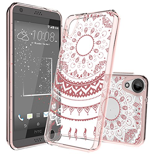 HTC Desire 530/Desire 630 Clear Case with HD Screen Protector, AnoKe [Scratch Resistant] Color Mandala Flower Acrylic Hard TPU Bumper Slim Fit Case for HTC 530/630/555 CH Rose Gold (Htc Case)