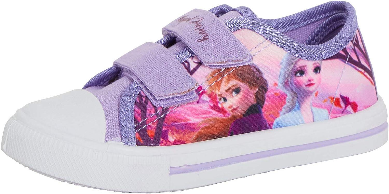 Disney Girls Reine des neiges 2 pompes en toile pour enfants Elsa Anna Touch Fixer Baskets bas