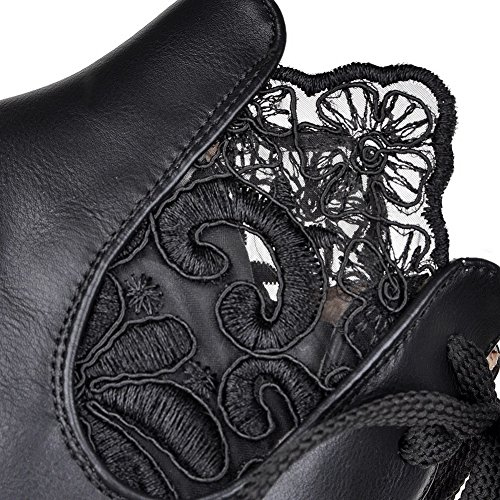 AgooLar Women's Solid PU Kitten-Heels Lace-up Round Closed Toe Boots Black hAofVHx