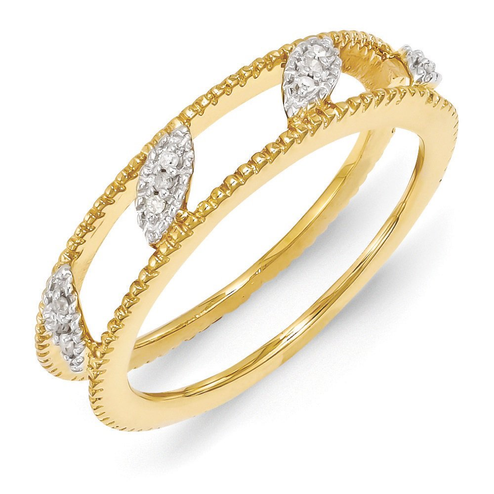 Gold Tone Sterling Silver Diamond Jacket Ring (.036 Ctw, I3 Clarity, H-I Color), Size 10