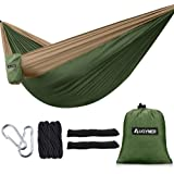AUGYMER Camping Hammock, Portable Lightweight Parachute Hammock with Tree Straps Up 600lbs Nylon Rope Hammocks Swing for Hiking Travel Backpacking Beach Yard
