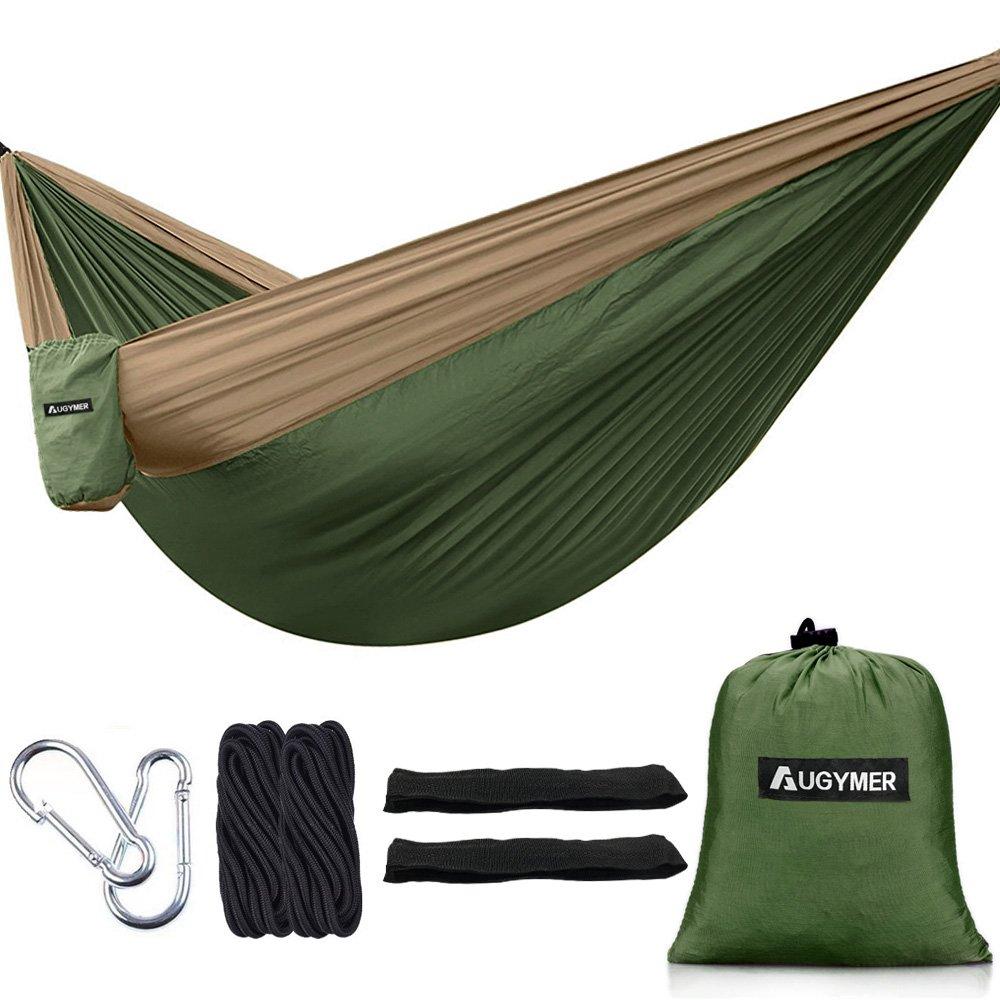 AUGYMER Camping Hammock, Portable Lightweight Parachute Hammock Tree Straps Up 600lbs Nylon Rope Hammocks Swing Hiking Travel Backpacking Beach Yard