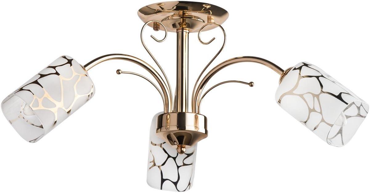DeMarkt 638010203 Lámpara de Techo Estilo Moderno Estructura Hecha de Metal Dorado Plafónes de Vidrio Mate E14 3 x 60W