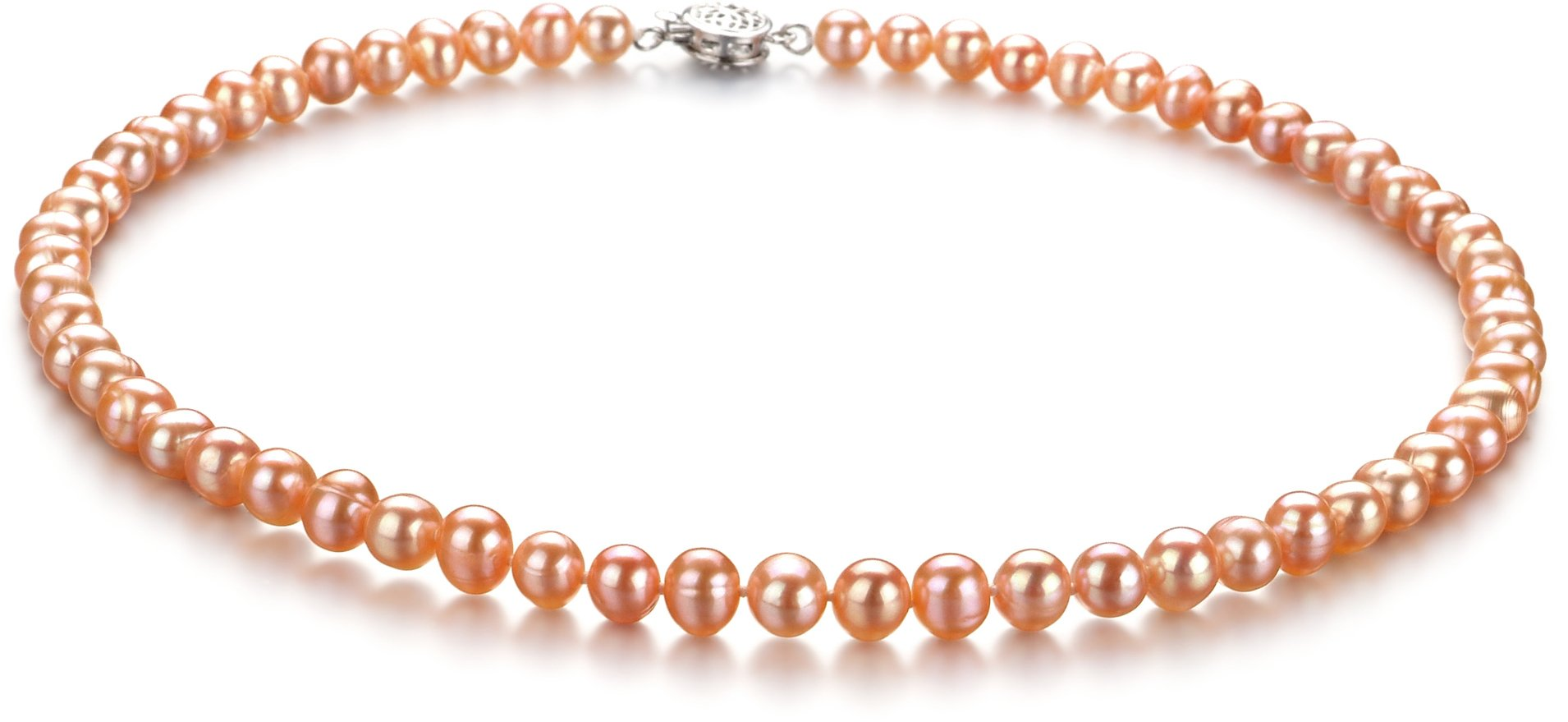 Bliss Pink 6-7mm A Quality Freshwater Cultured Pearl Necklace-16 in Chocker length