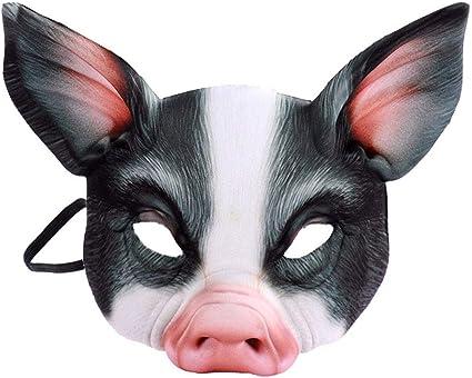 PIG LATEX HALF FACE MASK ANIMAL CHARACTER HALLOWEEN FUN