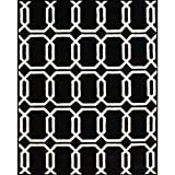 Alliyah Handmade Black New Zealand Blend Wool Rug (5  x 8 )
