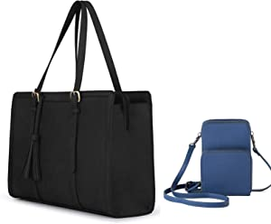 ECOSUSI 15.6 Inch Laptop Tote Bag with Cell Phone Purse, Blue