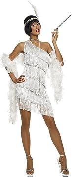 El Carnaval Disfraz charlestón Blanco Mujer Adulto: Amazon.es ...