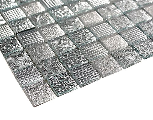 Glossy Shiny Silver Raindrop Modern Square Glass Mosaic Tiles for Bathroom and Kitchen Walls Kitchen (Modern Mosaic Glass)