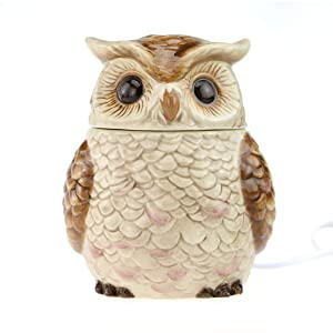 STAR MOON Wax Melt Warmer Electric, Candle Warmer for Wax Melt, Home Fragrance Diffuser, Home Décor, No Flame, with Ceramic Warming Plate (The Owl of Athena)