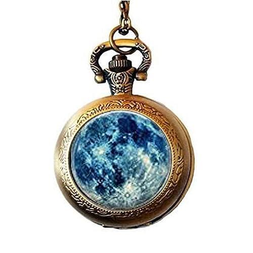 Blue Moon Halskette Blue Moon Schmuck Ketten Anh/änger blau blau Halskette Mond Schmuck Blue Moon Schmuck Anh/änger Mond Mond Anh/änger