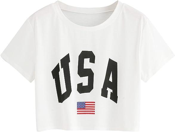 SOLYHUX Camiseta para Mujer Manga Corta, Camiseta Estampada De Bandera Y USA, Blanco M: Amazon.es: Ropa y accesorios