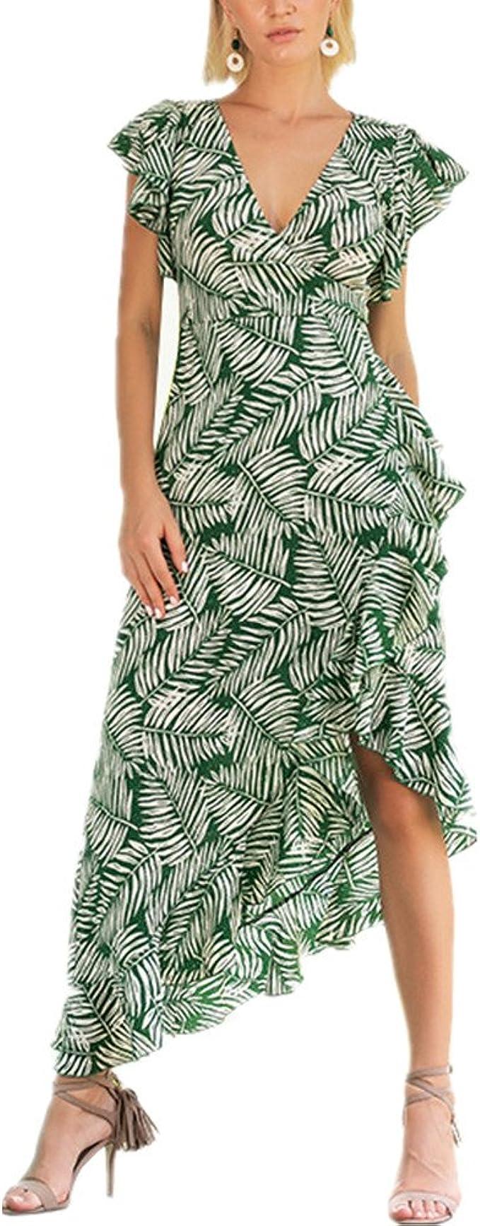 Dotbuy Vintage Kleider Frauen, Grüne Blätter Cocktailkleider