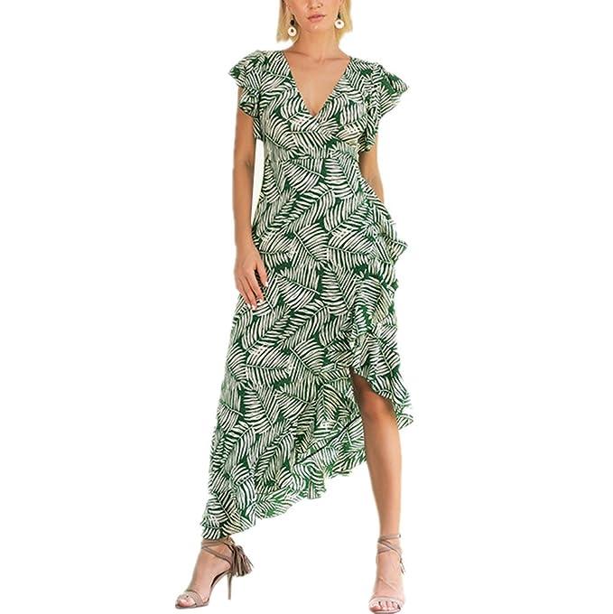 Dotbuy Vestido Fiesta Mujer Boho, Vintage Verde con Cuello en V caliente venta de verano