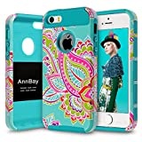 iPhone 5S Case,iPhone SE Case,AnnBay(TM) for iPhone 5S 2in1 High Impact Hybrid Dual Layer Case Heavy Duty Case Armor Cover Case with Totem Pattern (Blue)