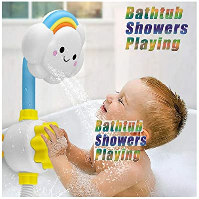 Bath Toys Bathtub Toys for 2 3 4 Year Old Kids Toddlers Bath Wall Toy, Baby Toddler Bath Toy Children Cloud Spray Water Shower Tub Faucet Bathroom Toys: Home Improvement