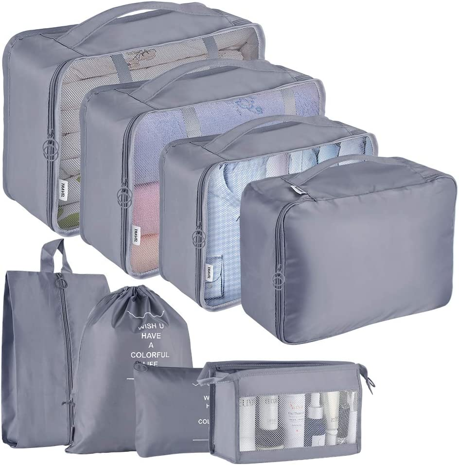 Packing Cubes 8-Pcs Travel Organizer Accessories with Shoe Bag &Underwear Bag & Laundry Bag and Toiletry (Gray)