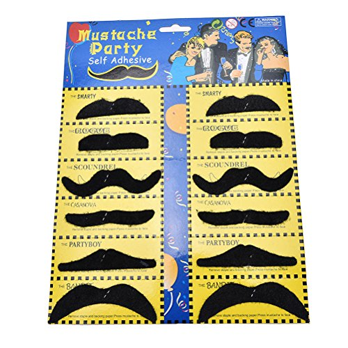 Photobooth Props - 12pcs Set Worldwide Costume Party Halloween Fake Mustache Moustache Funny Beard Whisker - European Theme Fishing Karaoke Tropical Potter Construction Beard Frontal Luau