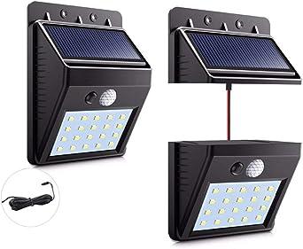 Luz solar del jardín del LED al aire libre patio brillante panel desmontable de alta calidad de pared LED luz de movimiento del sensor de la noche,Negro: Amazon.es: Iluminación