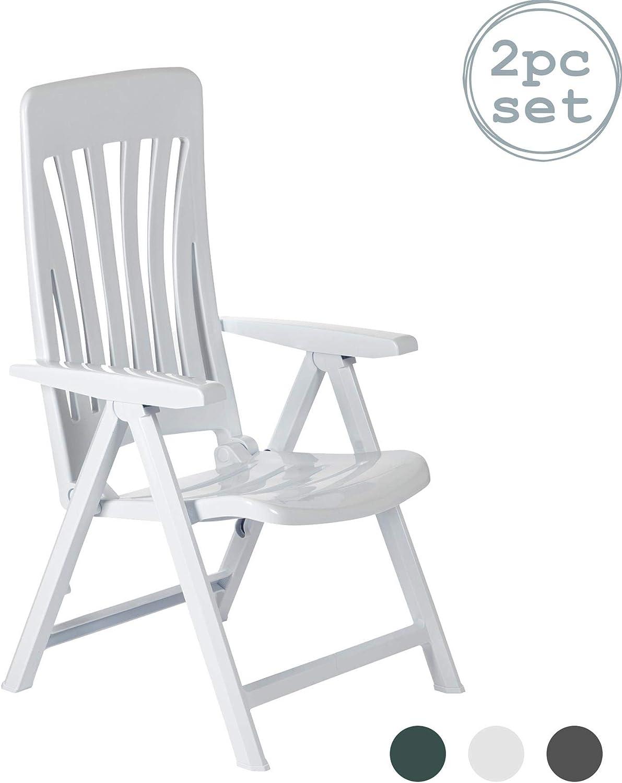 Resol 2 Piece Blanes Garden Sun Lounger Chair Set Zero Gravity Folding Reclining Outdoor Furniture White