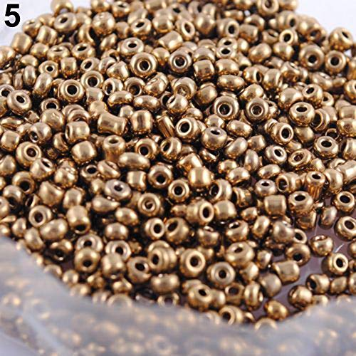 qsbai 2mm Spacer Loose Beads Bracelet Necklace Jewelry Making Accessories Crafts 1200 Pcs Gold