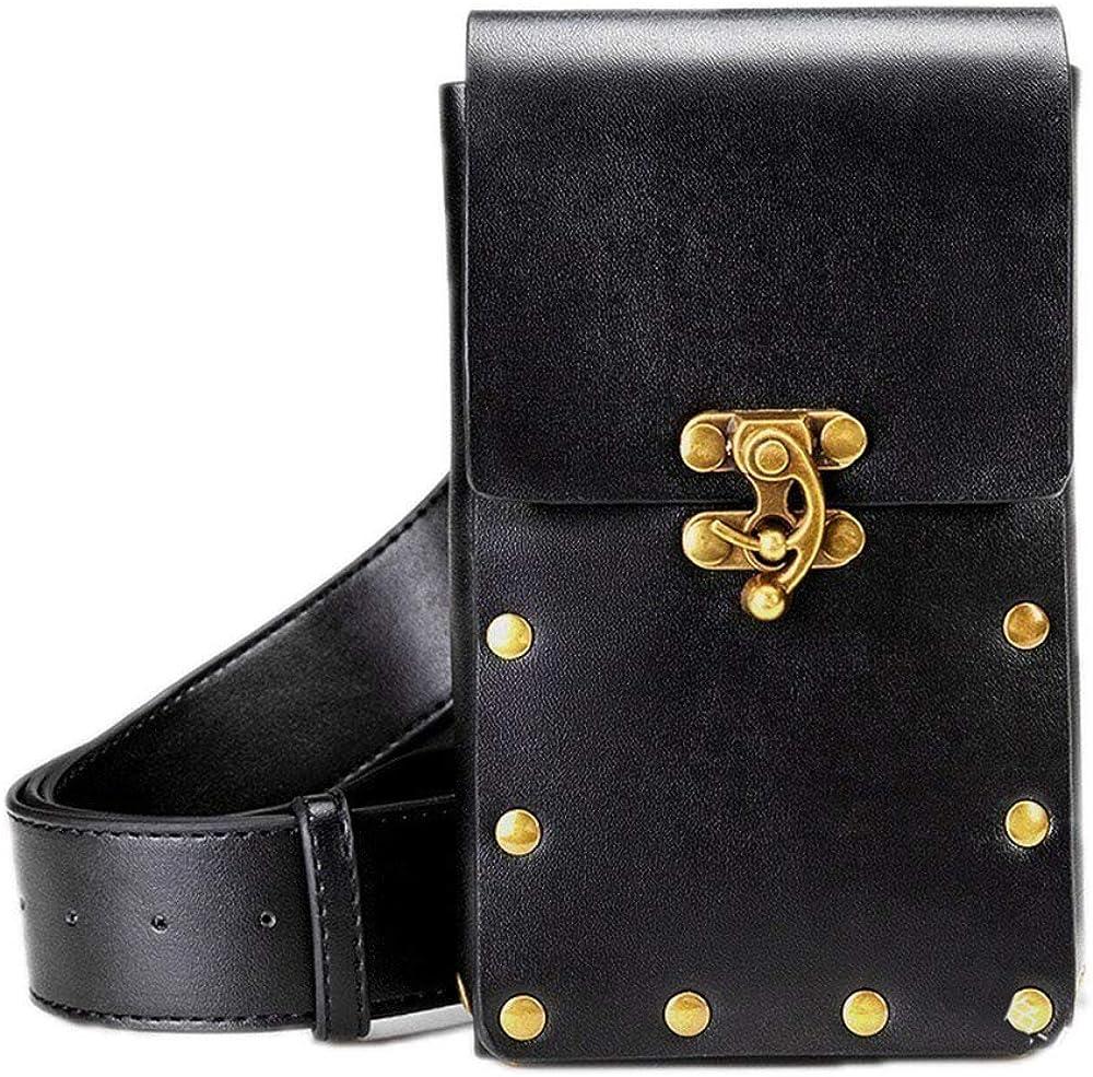 huateng Medieval Men Leather Waist Bag Bolso para teléfono móvil Viking Knight Belt Riñonera Renaissance Vintage Belt Bag