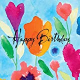 NEW - 8 Happy Birthday Greeting Cards - Inkflowers - 8 Mixed Cards - Blank inside - for birthday. FREE Delivery.