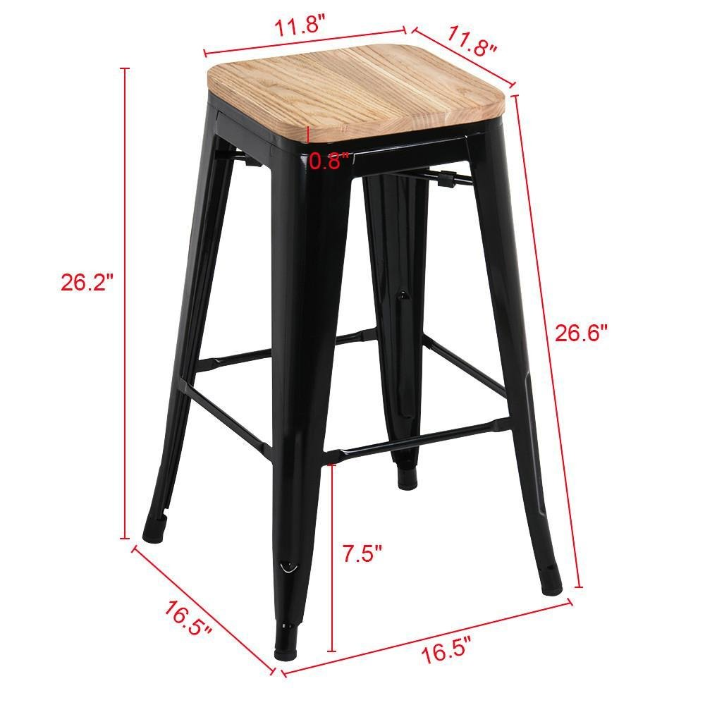 Yaheetech 26 inches Counter Height Metal Bar Stools Set of 4, Indoor Outdoor Stackable Bartool Industrial with Wood Seat, Black