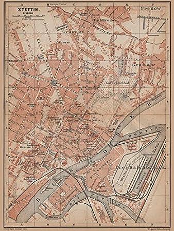 Stettin Stettin Antik Town City Plan Miasta Polen Mapa Baedeker