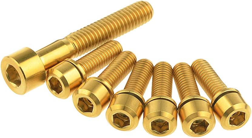 M5x16mm+M6x35mm, Gold Yaruijia Titanium M5x16 18 20mm Bolt for Bicycle Stem with M6x35mm Headset Top Cap Bolt