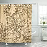 VaryHome Shower Curtain Italy Antique Old Map Europe France Spain Waterproof Polyester Fabric 60 x 72 Inches Set with Hooks