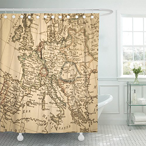 VaryHome Shower Curtain Italy Antique Old Map Europe France Spain Waterproof Polyester Fabric 60 x 72 Inches Set with Hooks by VaryHome