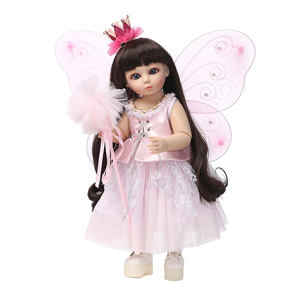 Kalttoy - Muñeca de simulación de pelo largo con alas rosas, 45 cm