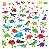 Dinosaur Wall Decals, Decorative Dino Stickers for Boys & Girls, Peel and Stick Colorful Wall Art Mural for Bedroom, Baby Nursery, Bathroom, Playroom, Removable Vinyl Home Decor, 81 Small & Large Pcs.