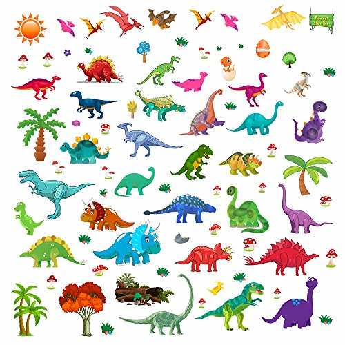 Lemostaar Wall Decals Dino & Friends Decorative Dinosaur Stickers for Boys & Girls, Peel and Stick Colorful Wall Art Mural for Bedroom, Baby Nursery, Classroom & More -