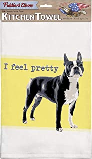 product image for Fiddler's Elbow I Feel Pretty Boston Terrier Kitchen Towel, 100% Cotton Dog Themed Towel, Eco-Friendly Dish Towel with Hanging Loop, Boston Terrier Lover Gift