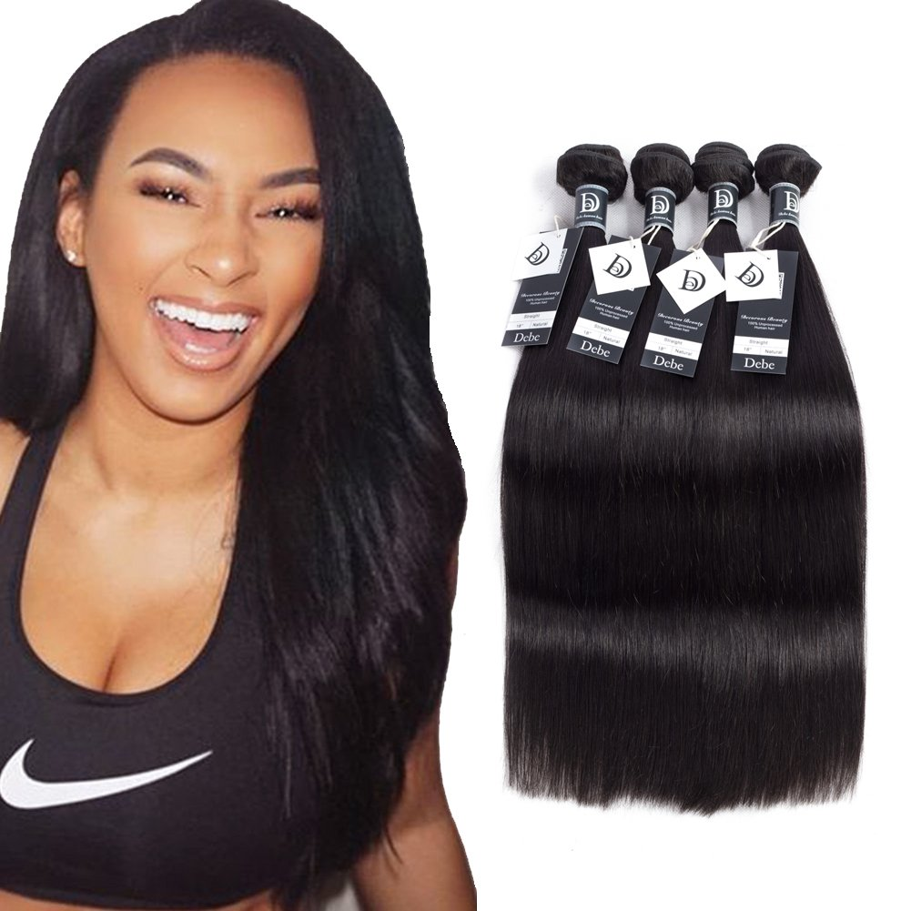 Debe Hair Peruvian Straight Virgin Hair 4 Bundles 8A Grade 100% Unprocessed Remy Human Hair Weave Extensions Natural Black (16 18 20 22)