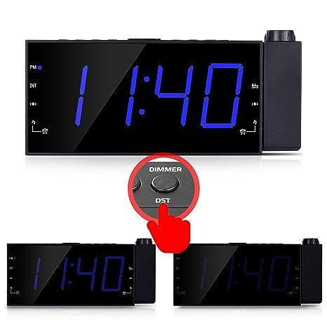 Amazon.com: LZYCL Reloj proyector digital, Am Fm Radio reloj ...