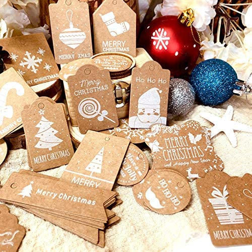 50PCS Christmas Theme Gift Tags with Twine Rope,Hanging Kraft Paper Lable for DIY Art Crafts,Gift Wrapping,Christmas Tree Decoration Supplies