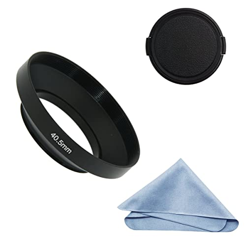 SIOTI Camera Wide Angle Metal Lens Hood + Cleaning Cloth + Lens Cap for Nikon Canon Sony Fuji Pentax Sumsung Leica Standard Thread Lens (40.5mm)