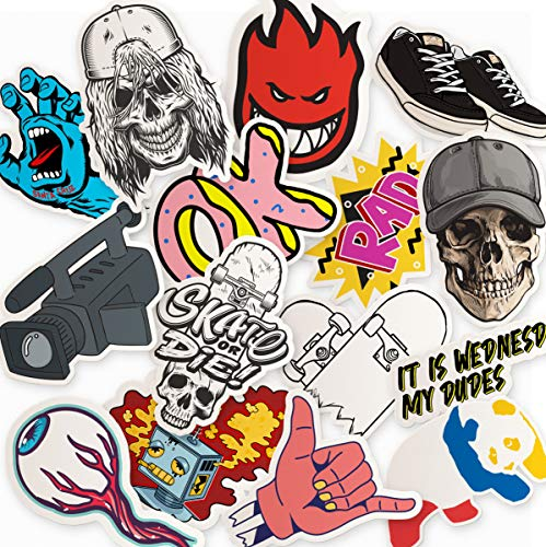 Skateboarding Sticker Pack - 15 Edgy Stickers for Your Skateboard, Laptop, Phone Case, Car, Stickers for Adults ()