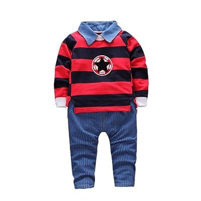 zycShang Tout-petits pour bébés Maillots pour bébés Pull à rayures T-shirt Tops + Ensembles de vêtements pour pantalons (12M, rouge)