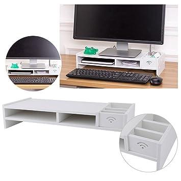 Soporte de Madera para Monitor de TV, PC, Ordenador Portátil, Ordenador, 2