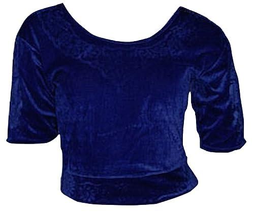Blu Scuro Choli (parte alta del Sari) di velluto taglia M ideale per danza del ventre