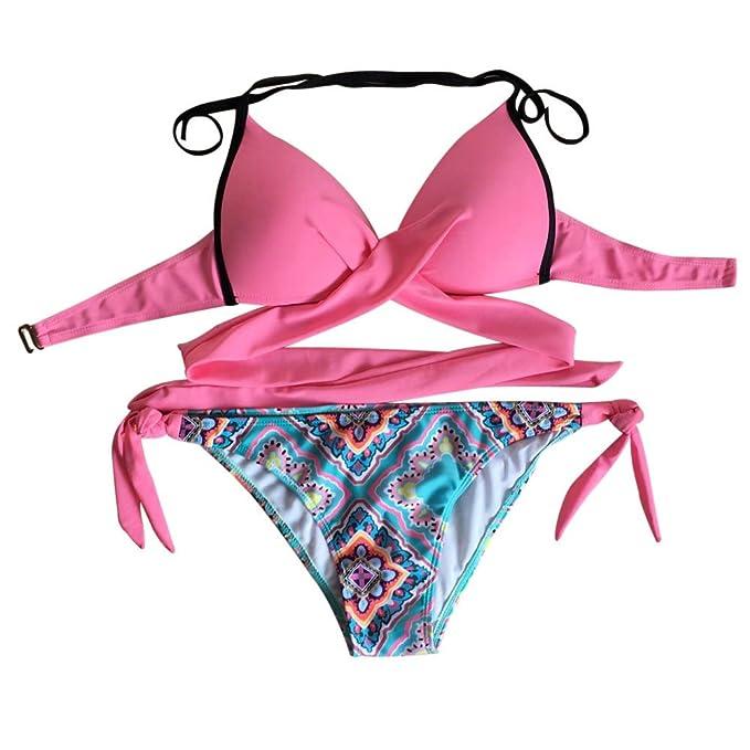 Proumy Conjunto de Ropa de Ba/ño Rosa Bikini con Tanga Floral de 2 Piezas Ba/ñador Estampado Sujetador S/ólido Traje de Playa de Correas Cruzadas Vestido de Piscina Colores para Verano