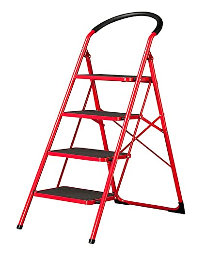 BI3 Multi-Function Folding Portable Step Ladder Household Heavy Duty Thicken Wide Pedal Iron Material Non-Slip Iron Stepladder Ladder Red Folding Step Ladder with Handgrip (4 Steps Ladder)