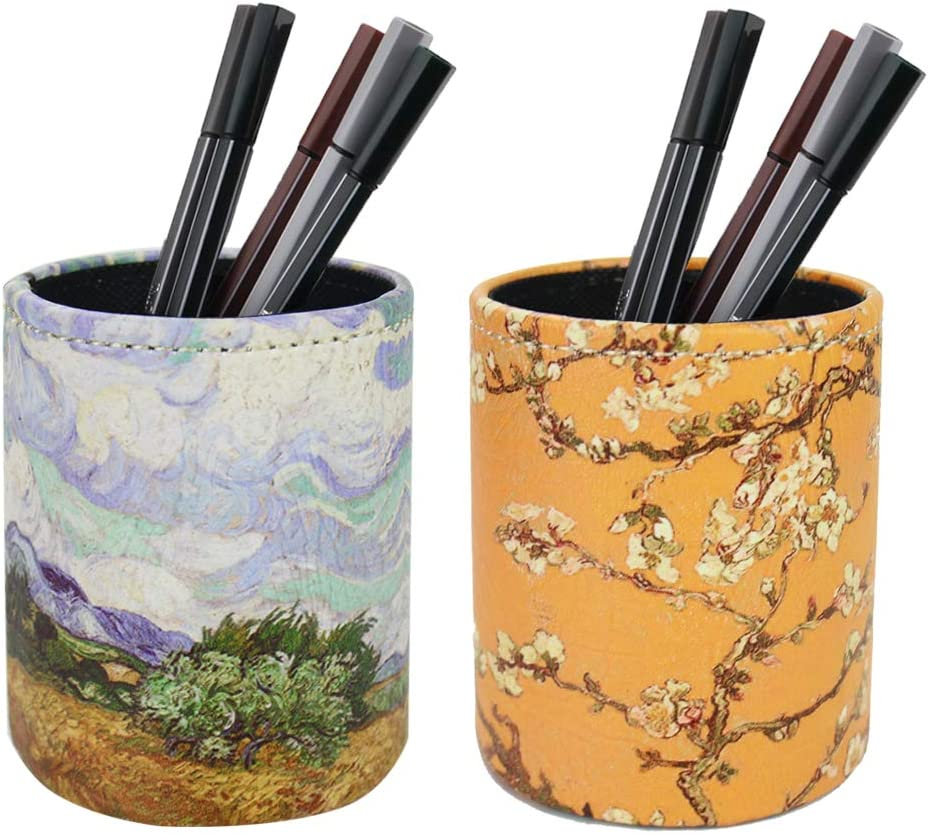 LIZIMANDU PU Leather Pencil Pen Holder,Round Pencil Cup Stationery Desk Organizer Control Storage Box for Home Office Bedroom(2 Pack,2-Van Gogh2)