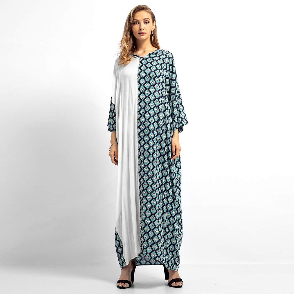 Happy-Day Women Maxi Dress Shirtdress Islamic Muslim Middle East Cotton  Robe Loose Fit Lattice Print Long Sleeve Dress  Amazon.co.uk  Clothing 3d235abb8