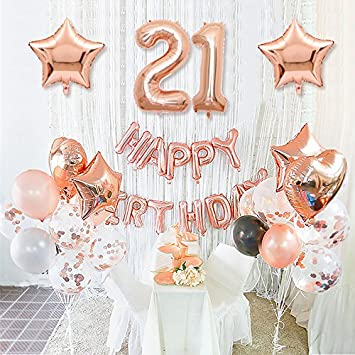 Happy Birthday 21st Rose Gold Decoration With Foil Banner Star And Mylar