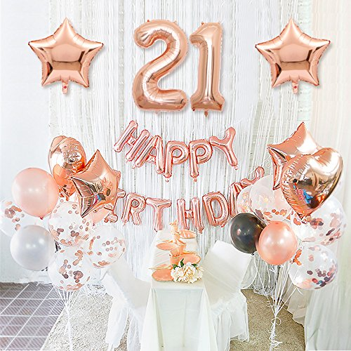 Heart Birthday 21st (Happy Birthday 21st Birthday Rose Gold Birthday Decoration with Foil Happy Birthday Banner Star and Mylar Heart Balloons Confetti Balloon Latex Balloon for Excellent Birthday Decoration (21rose Gold))